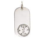 Sterling Silver Medical ID Oval Dog Tag