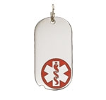 Sterling Silver Medical Alert Oval Dog Tag Necklace Red