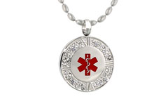 Stainless Steel Crystal Pendant Medical ID Necklace