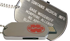 Engraved USB Dog Tag Medical ID Necklace